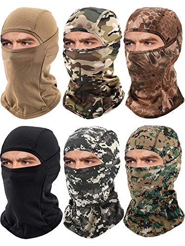 6 Pieces Balaclava Face Mask Motorcycle Windproof Camouflage Fishing Face Cover Winter Ski Mask (Grey, Black, Dark Green, Mixed Green, Yellow, Khaki)