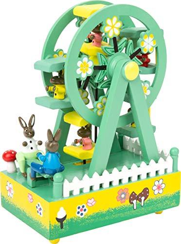 """Small Foot by Legler  Spieluhr """"Riesenrad""""  aus bunt lackiertem Holz, ein kunterbuntes Riesenrad mit süßen Hasen und eine schöne Melodie verzaubern Babys und Kinder, schmucke Dekoration für das Kinderzimmer"""