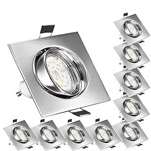 Bojim Foco Empotrable para el Techo Cuadrado 10x GU10 6W Blanco Natural 4500K LED Luz de Techo 600lm 82Ra AC 220V-240V Ángulo de Basculación del Ojo de Buey 30° y Ángulo de luz 120°IP20