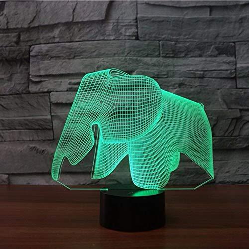 Elephant 3D Led Night 7 Farbwechsel 3D Lampe Schlafzimmer Bücherregal Nightlight Home Decor Kreatives Geschenk Licht