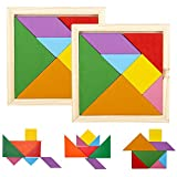 ArtCreativity Wooden Tangram Puzzles for Kids, Set of 6, Wood Tangrams with 7 Colored Pieces Each, Fun Educational Brain Teaser, Learning Toy for Boys and Girls, Fun Party Favor