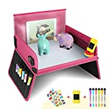 YOOFAN Snack& Play Travel Tray- Dual-Use Travel Play Table+ Car Seat Back Organiser with Dry Erase Top - 6 Pens & 1 Eraser& 2 Reusable Stickers Snack Play Activity Tray for Car/Stroller/Plane - Pink