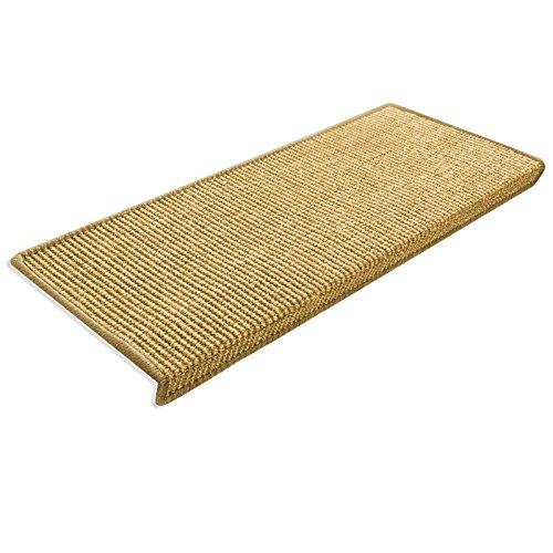 casa pura Kit de 15 Marchettes Escalier Rectangulaire Sisal 100% Naturel | Antidérapant | Env. 24 x 65 cm | Bordure Coton | Nature - Sylt