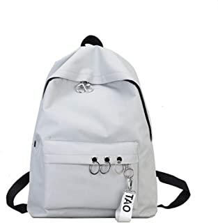 Wultia - Fashion Backpack Women Black Vintage Large Bag for Female Teenage Girls School Bag Solid Backpacks Mochila #G8 Gray