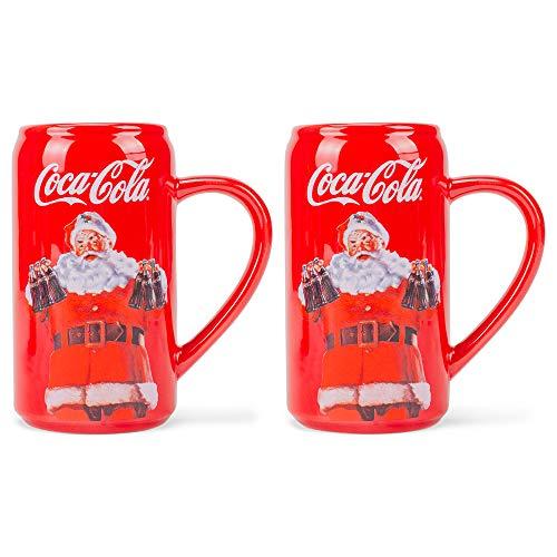 Red White Coca Cola Santa 12 ounce Dolomite Novelty Mug Set of 2