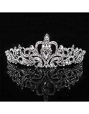 Tiara de plata coronas de cristal para mujeres y niñas, diamantes de imitación princesa elegante corona con peines para mujer diademas nupciales boda baile cumpleaños fiesta diademas para mujeres
