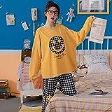 JJHR - Pijamas de algodón imprimado de Bande dessinée Ensemble de nuit Pour Filles douces-ré_2XL