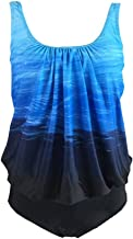 S.Charma Women Plus Size Swimwear Tummy Control Tankini 2 Piece Swimsuit Beaching Suit