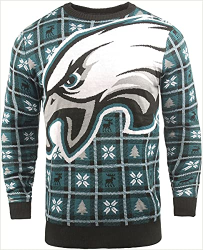 BIG NFL Ugly Sweater Pullover Christmas Philadelphia Eagles Logo Weihnachtspullover (X-Large)