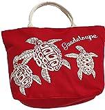 LeBag Guadeloupe Bags Borsa da Viaggio in Cotone da Mare, Borsa Da Spiaggia Grande con tracolla, Borsa a Spalla Tote Da Viaggio + Portamonete con Chiusura Zip per Donna e Ragazza (Rosso)