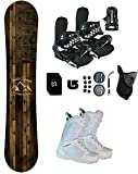 Symbolic Freedom Women's Snowboard & Bindings & Boots +Leash+Stomp+Mask+Burton Decal Package (7 Women Symbolic BLK Binding+White Boot, 150cm Hybrid Rocker)