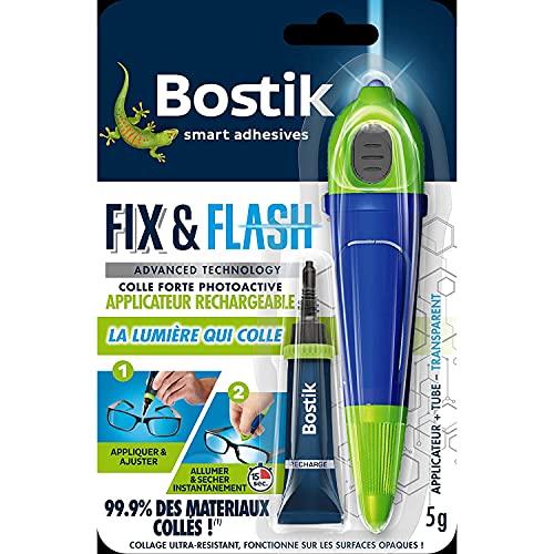 Bostik Kit Colle de Réparation Fix & Flash – Colle Forte Photoactive – Efficace sur Tous Matériaux et Toutes Surfaces – Transparent – 1 Applicateur et 1 Tube de 5 g