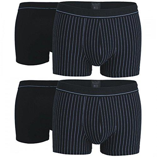 bugatti Herren Boxershorts, Pants, 4 Stück, 50016, 50017 (6, Schwarz / Gestreift)