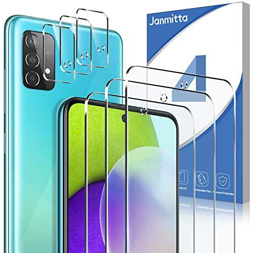 Janmitta [3 Stück ] Panzerglas und [3 Stück] Kamera Panzerglas für Samsung Galaxy A52 5G/4G [9H Härte][Anti-Kratzen] [Anti-Bubble][HD] Klar folie