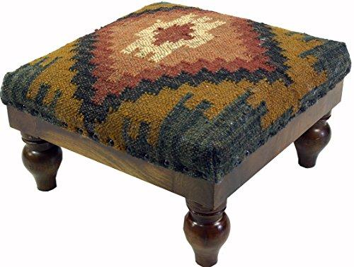 Guru-Shop Arabisch- Marokkanischer Kelim Boden Hocker, Orientalischer Sitz mit Holzgestell, Runde Beine - Blau/gelb, 25x40x40 cm, Sitzmöbel