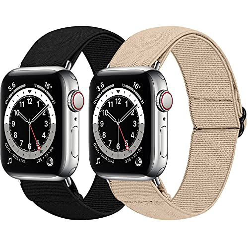 MEFEO 2-Pack Adjustable Elastic Apple Watch Bands Compatible with Apple Watch 38mm 40mm 42mm 44mm, Nylon Sport Women Girls Bracelet Strap for iWatch SE Series 6/5/4/3/2/1(Black+Khaki, 38mm/40mm)