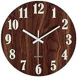 hufeng Reloj de Pared Clockwall 12 Pulgadas Función de luz Nocturna Reloj de Pared de Madera Vintage rústico Estilo Toscano para Cocina Oficina Hogar Silencioso