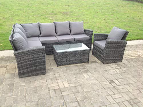 Fimous 7 Seater Grey Rattan Corner Sofa Set Dining Table Foot Rest Garden Furniture Outdoor