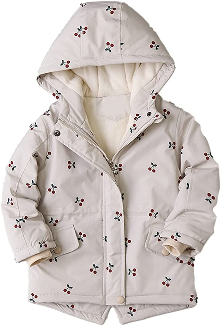 San Jose Mall AMEBELLE Fashion Girls' Cotton Padded Parka Cut Cherry Warm Jacket Print