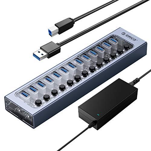 ORICO Hub USB Alimentato Alluminio + PC 13 Porte Hub Dati USB 3.0 da 60 W con Ricarica BC1.2, Interruttore on / off Individuale e Alimentatore 12V / 5A per PC, iMac, Disco Rigido Mobile, unità Flash
