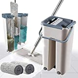 Curated Cart Flat Mop with Plastic Bucket and 2 Refills Smart Sleek Compact Size Mop and Bucket, Floor Cleaning (White Colour)