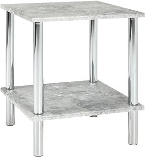 Haku Möbel 90438 Mesa Auxiliar, Acero, Chrom-betonoptik, 39 x 39 x 47