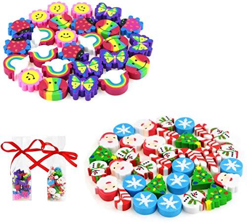 BeautyMood 4-Pack Cute Cartoon Pocket Christmas Eraser Creative Stationery for Kids Random Pattern (About 120 pcs).