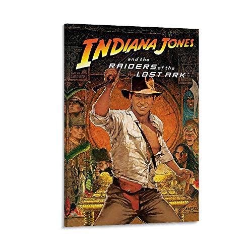 XIAOGANG Posterrahmen, 61 x 91 cm, Indiana Jones Raiders of The Lost Ark mit Filmposter der 60er-Jahre, Leinwand-Kunstdruck, Kunstdruck, moderner Familienschlafzimmerdekor, Poster, 50 x 75 cm