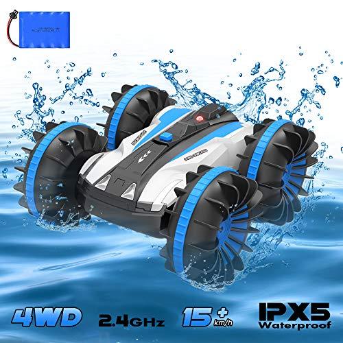 4WD Ferngesteuertes Auto,RC Boot 2.4Ghz 1/18 Wasserdicht RC Stunt Auto Mit 80m Fernbedienung 360 °Drehung Off Road Amphibisch Offroad Auto Wiederaufladbar Elektronisch Fahrzeug Spiele Geschenke(Blau)