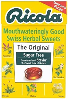 Ricola Swiss Sugar Free Herb with Stevia herbal drops 45g (Pack of 10)