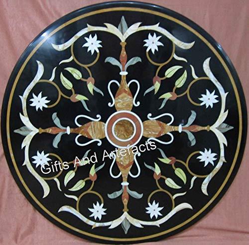 Mesa de comedor de mármol negro con diseño de mosaico de arte del patrimonio indio de 36 pulgadas