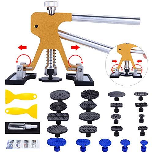 Randalfy Ausbeulwerkzeug Dellen Reparaturset, Auto Ausbeulwerkzeug Goldener Lifter mit 21 Stück Klebel für Autokörper Motorrad Kühlschrank Dent Puller Entfernen Dellen Reparaturset