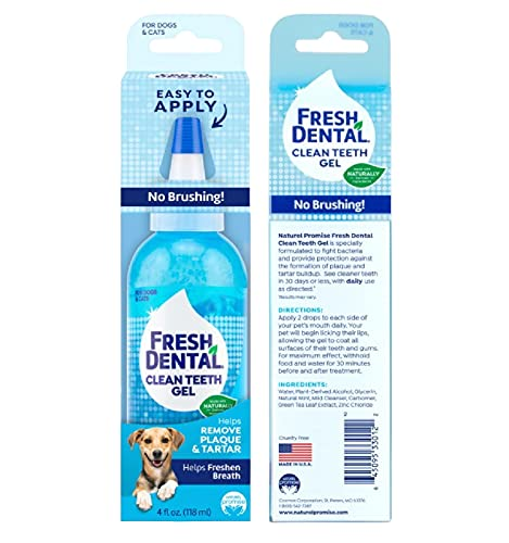 pet supplies inc dentals Naturel Promise Fresh Dental Teeth Clean Gel, 4 Fl Oz - Easy to Use Pet Dental Gel That Helps Remove Plaque, Tarter, and Freshen Breath-No Brushing Pet Oral Care for Dog Dental Care, Cat Dental Care