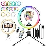 ELEGIANT Aro de Luz Trípode LED, Anillo de Luz 26 Colores RGB de 10.2' 3 Modos de iluminación, Brillo Ajustable con Control Remoto Inalámbrico para Selfie Fotografía Youtube Maquillaje para Móvil