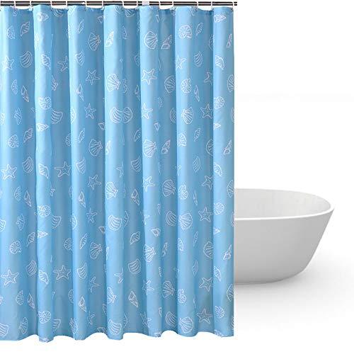 HuaForCity Duschvorhang aus Stoff B x H 240 x 200 cm wasserdichter waschbarer Textil Anti-Schimmel Digitaldruck inkl. 12 Duschvorhangringe für Badezimmer