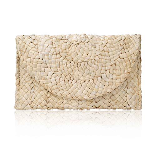 ISIYINER Pochette in Paglia Estiva,Borsa Mare borsa da donna Eleganti Clutch Borsa di Paglia borsa fatta a mano Borsa da Spiaggia