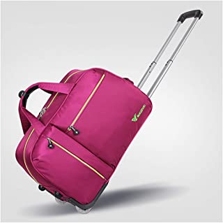 Overnight Weekender Bags for Women Soft Rolling Tote Travel Bag Suitcases with Wheels, Waterproof Rolling Duffel Bag Wheeled Business Carry on Luggage (Color : Pink, Size : 24 inch)