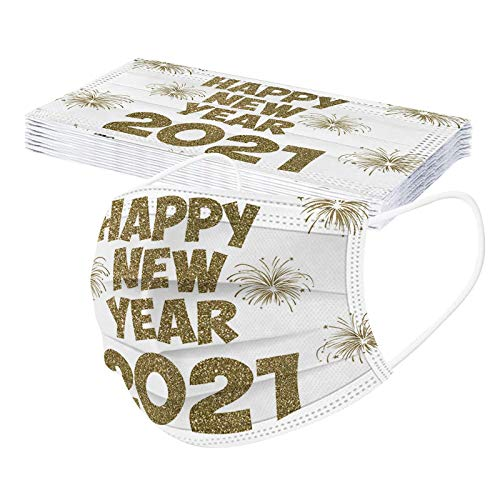 10pcs Happy New Year 2021 Disposable Face_Mask-3 Ply Anti-Dust Face Covering Breathable Anti-Splash Protective Mouth Face Protection for Men Women Gold