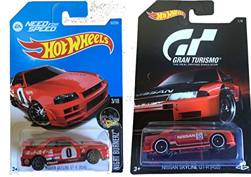 Team Hot Wheels Hot Wheels 2016 Need for Speed Nissan Skyline GT-R (R34) & Gran Turismo Exclusive Nissan Syline GT-R (R34) Bundle 2-Car Set by