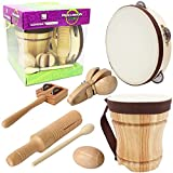 Improved Handmade Wooden Musical Instrument Set,Kids Percussion Bongo Drum,Tambourine 8 inch,Castanets,Egg Shaker,Tone Block and Guiro,Jingles Tap,Music Toys Excellent Gift for Toddler Teaching Rhythm