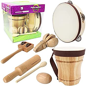 Improved Handmade Wooden Musical Instruments Set,Kids Percussion Bongo Drum,Tambourine 8 inch,Castanets,Egg Shaker,Tone Block and Guiro,Jingles Tap,Excellent Gift for Teaching Rhythm