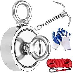 【Genießen Sie Ihren Magnet-Angelausflug】 - Das Youngneer-Magnet-Angelset mit 435 kg doppelseitigem Angelmagneten und 20 mm langem Nylonkabel sowie einem 3-Klauen-Greifhaken aus Edelstahl, einem Hochleistungskarabiner und einem Paar Handschuhen enthäl...