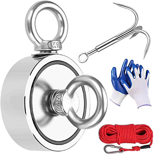 Youngneer Magnetfischen Set 300KG Doppelseitig Ösenmagnet Suchmagnet Bergemagnet Mit Seil 20M Carabiner Suchanker Handschuhen Ø60mm Magnetangeln Set zum Magnet fischen