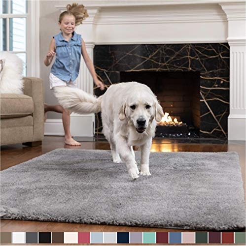 GORILLA GRIP Original Faux-Chinchilla Area Rug, 7.5x10 Feet, Soft and Cozy High Pile Washable Kids Carpet, Modern Floor Rugs, Luxury Shaggy Carpets for Home, Nursery, Bed and Living Room, Dark Gray