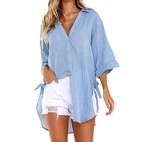 TUDUZ Damen V-Ausschnitt Langarm Knopf Bluse Oberteile Elegant Lose Pullover Top Shirts Tunika Hemd T-Shirt