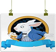 Mannwarehouse Alice in Wonderland Art Oil Paintings Rabbit with Pocket Watch Design Amazing Alice Fantasy World Canvas Prints for Home Decorations 24