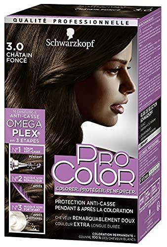 Schwarzkopf - Pro Color - Coloration Permanente Cheveux - Anti-Casse - Technologie Oméga Plex - Tenue Extra Longue Durée - Châtain Foncé 3.0