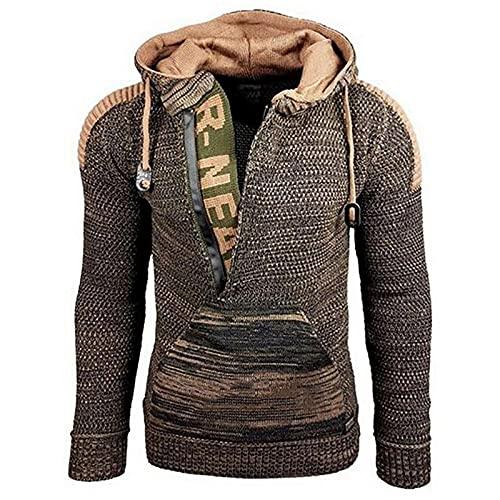 AOCRD Sudadera básica con capucha para hombre, de punto grueso, de corte regular, de manga larga, cálida para otoño e invierno, marrón, XXXXL
