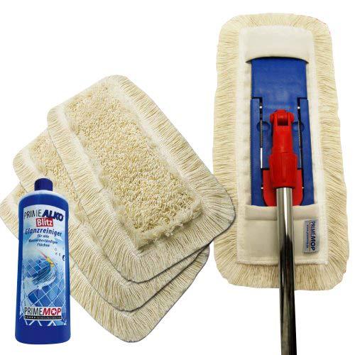 PrimeMop Bodenwischer aus Baumwolle für Parkett 6in 1Set und Gratis Reinigung Agent 50cm/Baumwolle/Top Qualität