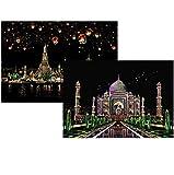 Scratch Art Paper, Comius 2 Pack 400 × 285 mm Obras De Arte De Raspado De Arco City Series Night Scene Manualidades Scratch Painting para Adultos y niños con Herramientas (Taj Mahal + Chiang MAI)